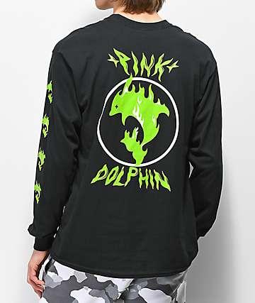 Pink Dolphin Aqua Flame camiseta negra de manga larga