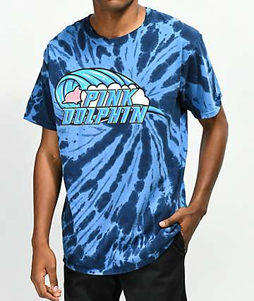 Pink Dolphin Barrel Roll camiseta azul con efecto tie dye