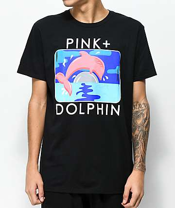 Pink Dolphin Bound Portrait Black T-Shirt
