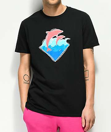 Pink Dolphin Bubble Waves Black T-Shirt