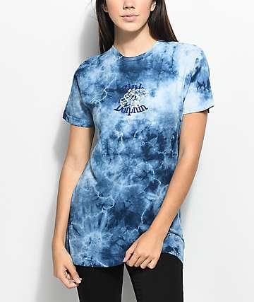 Pink Dolphin Dice camiseta azul con efecto tie dye