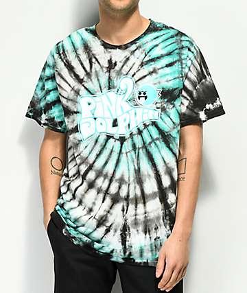 Pink Dolphin Ghost Script camiseta con efecto tie dye