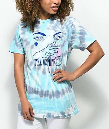 Pink Dolphin More Water camiseta azul con efecto tie dye