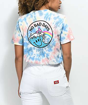 Pink Dolphin No Bad Day camiseta con efecto tie dye
