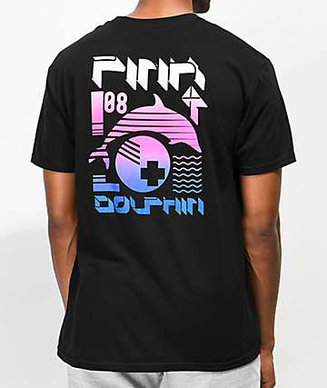 Pink Dolphin Pulse Collage camiseta negra