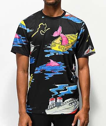 Pink Dolphin Sail Away camiseta negra