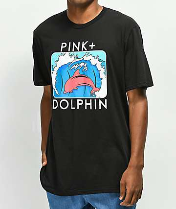 Pink Dolphin Splash Portrait Black T-Shirt