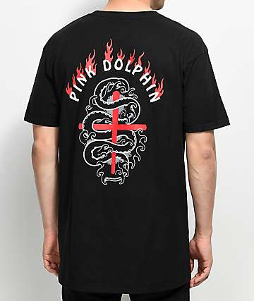 Pink Dolphin Wave Flare Black T-Shirt
