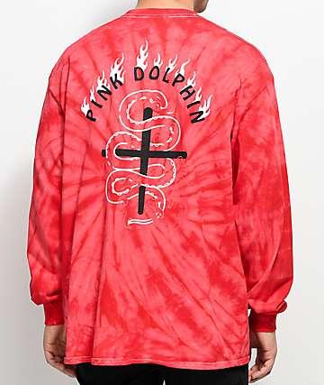 Pink Dolphin Wave Flare camiseta roja de manga larga