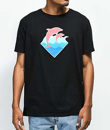 Pink Dolphin Wave Puff Print Black T-Shirt