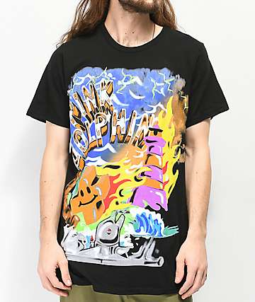 Pink Dolphin Wave Season Black & Blue T-Shirt