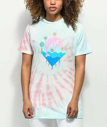 Pink Dolphin Waves Bloom Multi Tie Dye T-Shirt