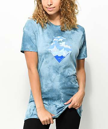 Pink Dolphin Waves Slate Blue Tie Dye T-Shirt