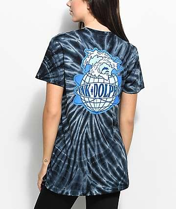 Pink Dolphin Worldwide camiseta negra con efecto tie dye