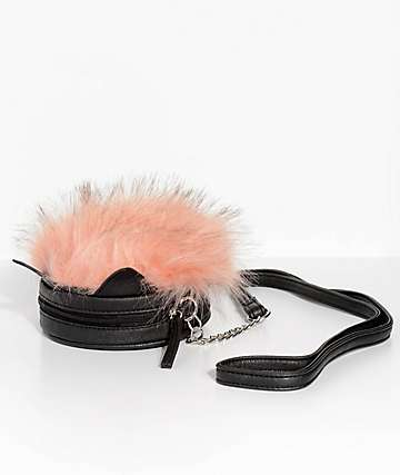 Pink Faux Fur Crossbody Bag