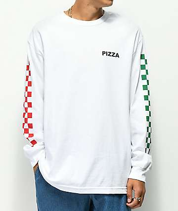 Pizza Checkered camiseta blanca de manga larga
