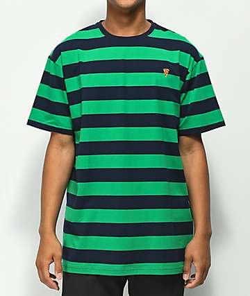 Pizza Emoji camiseta verde y azul de rayas