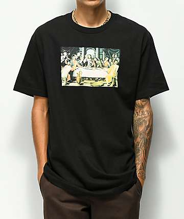 Pizza Last Supper Black T-Shirt