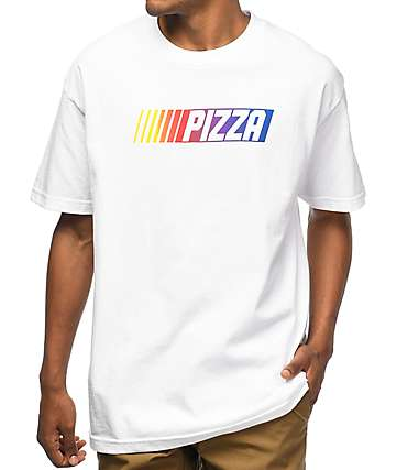 Pizza Race Car White T-Shirt