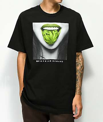 Popular Demand Green Tongue Black T-Shirt