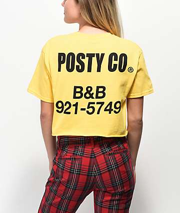 Post Malone Posty Co. Yellow Crop T-Shirt