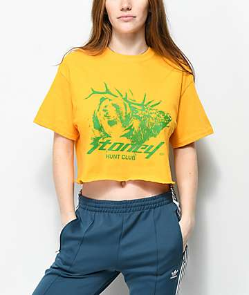Post Malone Stoney Buck Hunt Club Yellow Crop T-Shirt