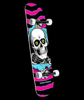 "Powell Ripper One Off Pink & Blue 7.75"" Skateboard Complete"