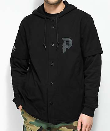 Primitive 2Fer Baseball Black Hooded Sweatshirt