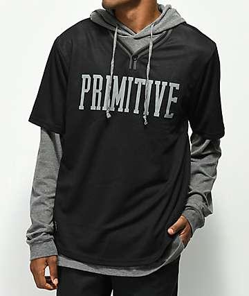 Primitive 2fer sudadera con capucha gris y negra