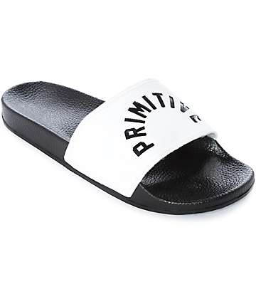 Primitive Arch Black & White Slide Sandals