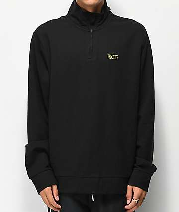 Primitive Black & Gold Cadet Quarter Zip Fleece Sweatshirt
