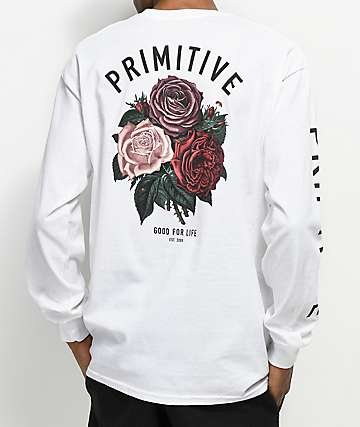 Primitive Bloom White Long Sleeve T-Shirt