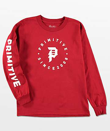 Primitive Boys Dirty P Orbit Red Long Sleeve T-Shirt