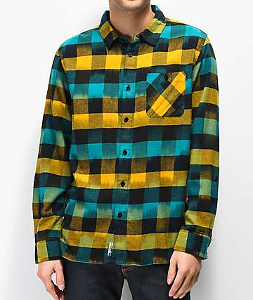 Primitive Buffalo Ikat Blue & Yellow Flannel Shirt
