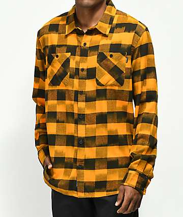 Primitive Buffalo Ikat Orange Flannel Shirt