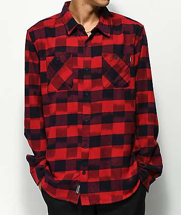 Primitive Buffalo Red & Black Ikat Flannel Shirt