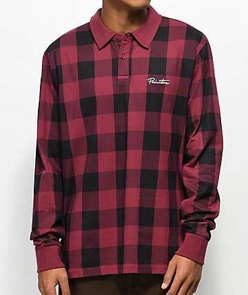 Primitive Buffalo camiseta polo de manga larga en rojo y negro