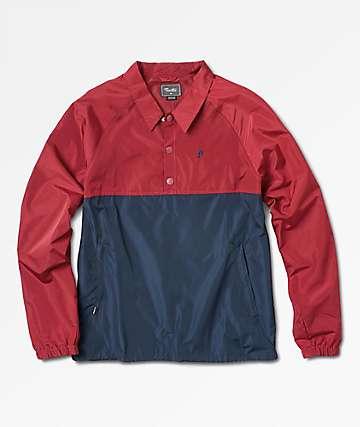 Primitive Burgundy & Navy Anorak Coaches Jacket