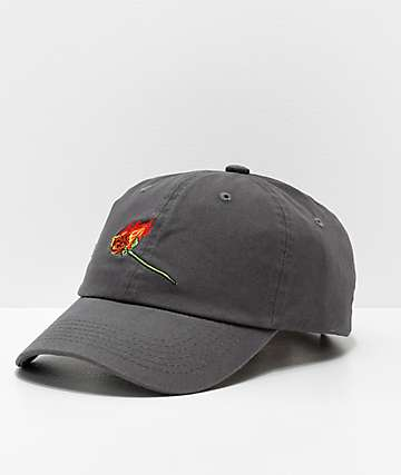 Primitive Burning Rose Black Washed Strapback Hat
