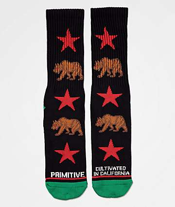 Primitive Cultivated In CA Black Crew Socks