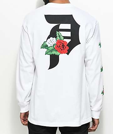 Primitive Dirty P Dos Flores camiseta blanca de manga larga