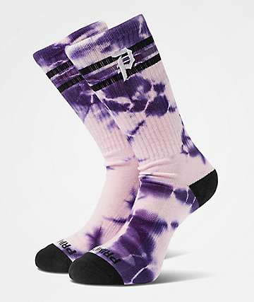 Primitive Dirty P Ringer Washed Purple Crew Socks