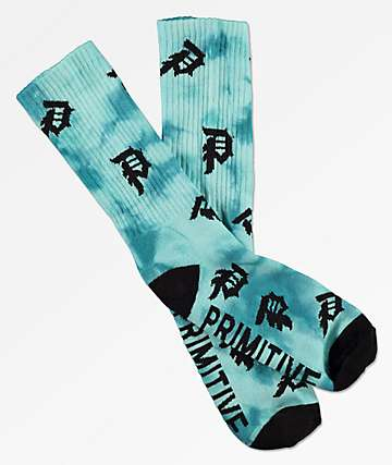 Primitive Dirty P Scatter Marble Blue & Black Crew Socks