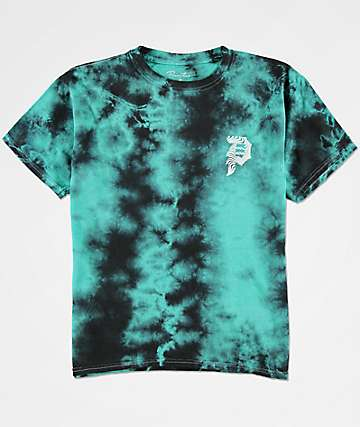 Primitive Dirty P Waves camiseta tie dye verde azul para niños