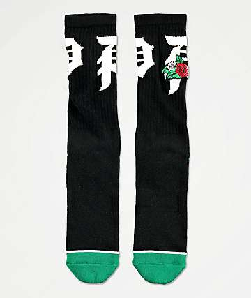 Primitive Dos Flores Black Crew Socks