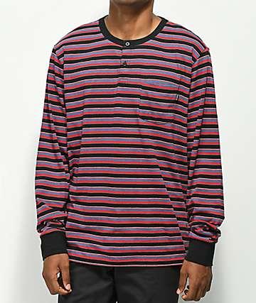 Primitive Drake Black & Red Henley Long Sleeve T-Shirt