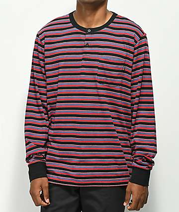 Primitive Drake Multi Stripe Henley Long Sleeve T-Shirt
