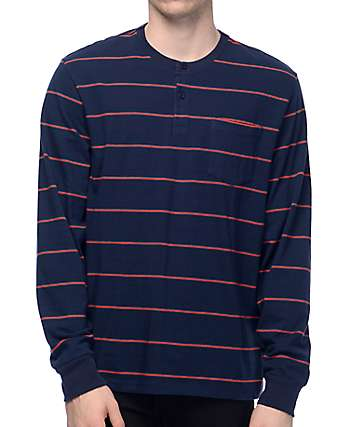 Primitive Drake Striped Long Sleeve Navy Henley Shirt