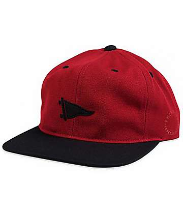 Primitive Felt Pennant Red & Black Unstructured Snapback Hat