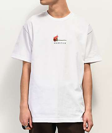 Primitive Heartbreakers Burning White T-Shirt